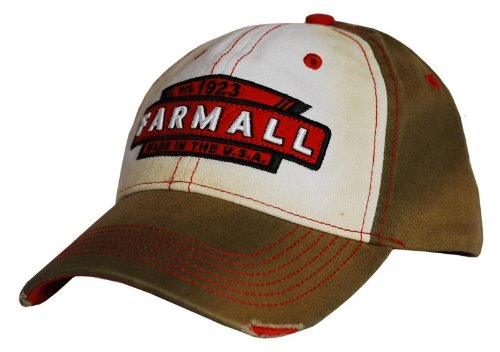 Farmall Tea Stained Distressed Baseball Hat Brown/Red from Country Casuals