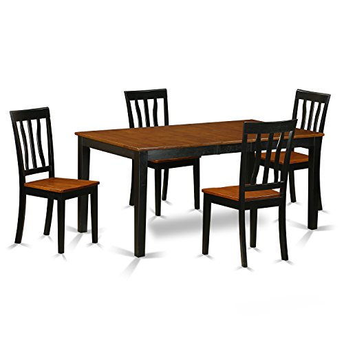 East West Furniture NIAN5-BCH-W 5 Piece Dining Table and 4 Solid Wood Kitchen Chairs Set
