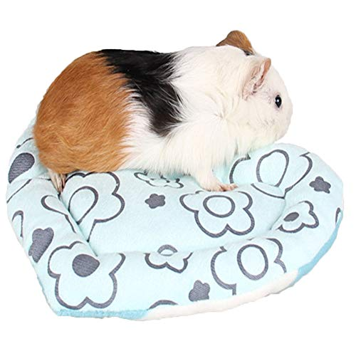 Hamster Bed Mat Small Animal Nest Warm Sleeping Cage Mat,Ultra-Soft Velet Cave Cushion,Lovely Heart-shaped Washable Pet House for Guinea, Pigs, Hedgehog, Squirrel, Mice, Rats &Chinchilla (Blue)