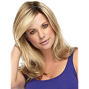 Kalyss Ladies Ombre Blonde Dark Brown Roots Long Curly Wavy Heat Resistant Synthetic Hair Wig for Women Blonde Wig with…