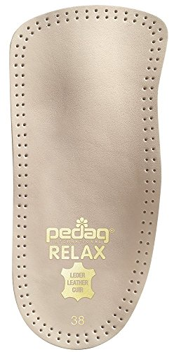 Pedag 127/128 Relax 3/4 Length Anatomically Shaped Leather Insole with Flexible Latex Heel Cup, Arch Support and Metatarsal Pad, Tan – DiZiSports Store
