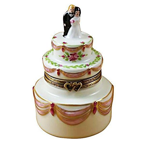 BRIDE & GROOM WEDDING CAKE - LIMOGES PORCELAIN FIGURINE BOXES AUTHENTIC IMPORTS