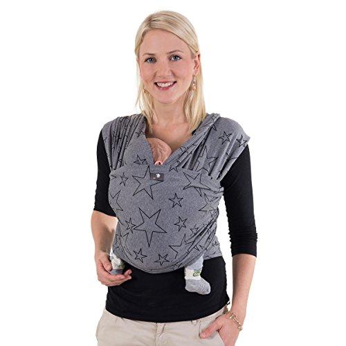 HOPPEDIZ elastische draagdoek voor premature en pasgeborenen, incl. draaghandleiding 5,40m x 0,50m Grau mit Stern
