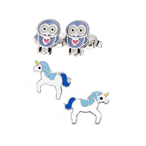 SL Silver Juego de kinderohr anillos azul búho y unicornio 925plata en caja de regalo