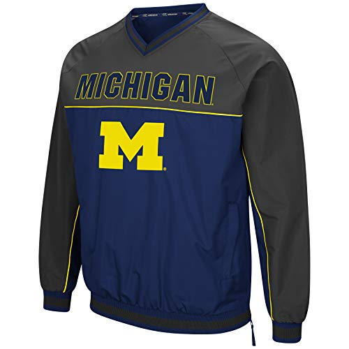 Athletic V-Neck Windbreaker Pullover with Tackle Twill Embroidery-Michigan Wolverines-Navy/Charcoal-XXL ()