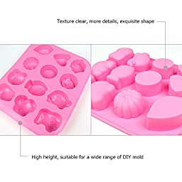 LoveS 2 PCS Silicone Moulds Flowers and Animals Shapes Muffin Moulds Cupcake Tins Candy Moulds Baking Bup Chocolate Mold