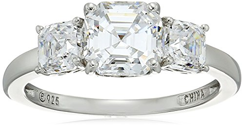 Platinum-Plated Sterling Silver Asscher-Cut 3-Stone Ring made with Swarovski Zirconia (3 cttw), Size 5
