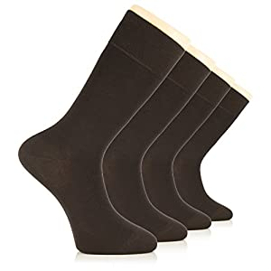 Premium Quality Cotton Mens Dress Socks Business Casual Crew Shoe Size 7-12 ( Men Dark Brown )