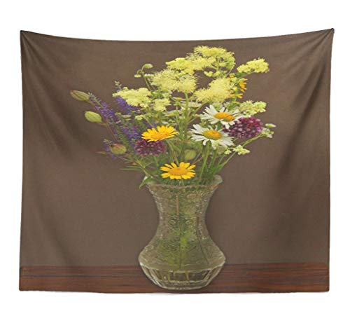 (Fuatto Herbs and Wildflowers Wall Hanging Tapestry Summer Wildflowers Vase Beautiful Summer Bouquet Decorative Tapestry Polyester 80''L x 60''W for Bedroom Living Room)