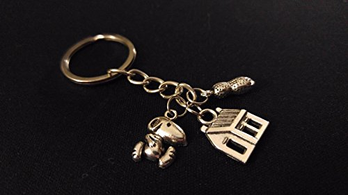 (SNOOPY PEANUTS DOG HOUSE CHARLIE BROWN Silver Metal Charm Keychain Unique Gift)