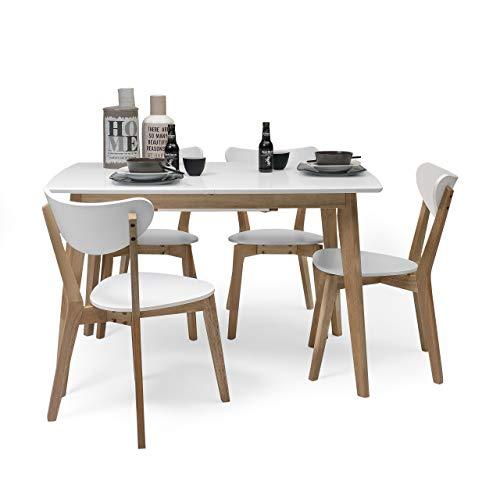 Homely - Conjunto de Comedor de diseno nordico MELAKA Mesa Extensible de 120/160x80 cm Blanca y 4 sillas Blancas