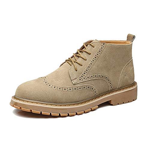 High Top Khaki 42 EU YAJIE-bottes, Bottes Mode pour Hommes, Bottes décontractées Style Britannique sculptées Brogue à Semelle Martin (Montante en Option) (Couleur   High Top Khaki, Taille   42 EU)