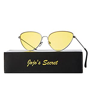 JOJO'S SECRET Cat Eye Mirrored Sunglasses,Colorful Lens Sunglasses For Women JS002 (Silver/Yellow, 2.2)