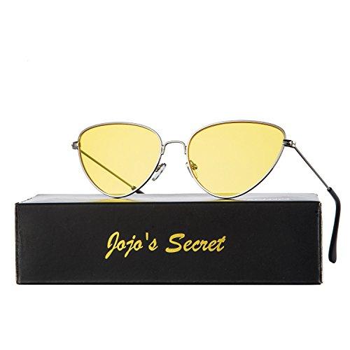 JOJO'S SECRET Cat Eye Mirrored Sunglasses,Colorful Lens Sunglasses For Women JS002 (Silver/Yellow, - Lens Secret