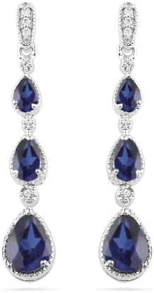 Sterling Silver Pear Simulated Blue Sapphire and Round Diamond Fashion Earrings