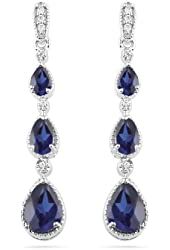 Sterling Silver Pear Lab Created Blue Sapphire and Round Diamond Fashion Earrings