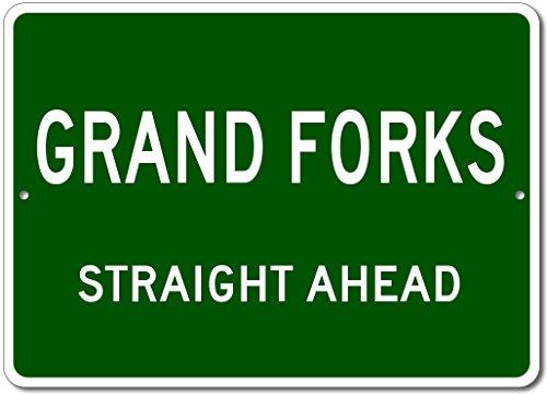 Grand Forks North Dakota (Custom Aluminum Sign - GRAND FORKS, NORTH DAKOTA US City Straight Ahead Sign - Green - 12