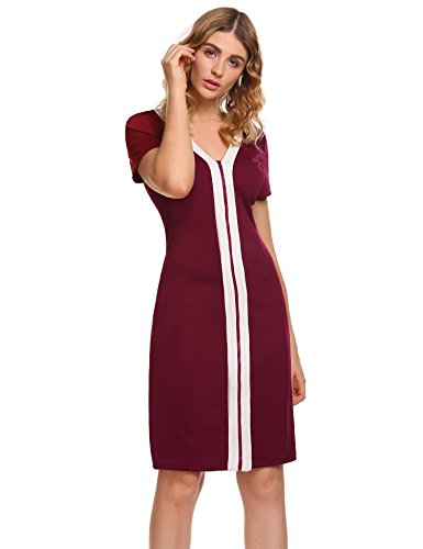 Round 3 Sheath Stripe Red Womens Casual 4 A1 Business Wine Dress Sleeve Neck ANGVNS wESIqz