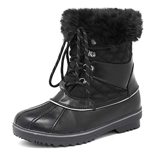 DREAM PAIRS Women's River_2 Black Mid Calf Winter Snow Boots
