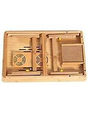 طاولة لاجهزة اللاب توب محمولة وقابلة للطي والتعديل، مصنوعة من الخيزران