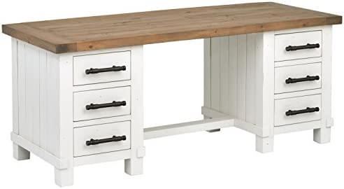 Stone Beam Barrett Reclaimed Wood 6-Drawer Desk, 71 W, Sandstone and White