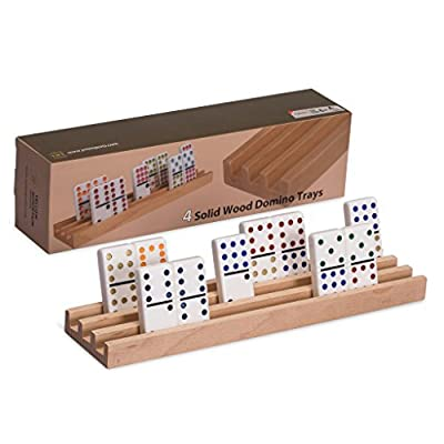 Domino Racks | Trays, Premium Beechwood , Set of 4, Perfect for Mexican Train Dominoes and Chickenfoot