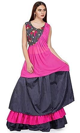 Mitshi Silk Chiffon Embroidery Lehenga Choli Crop Top Skirt