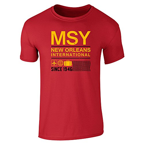 Pop Threads MSY New Orleans Airport Code Since 1946 Travel Red L Short Sleeve - Orleans Airport New Shops