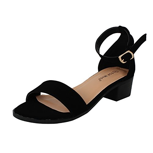 Womens Ankle Strap Open Toe Heeled Sandal Oxfords-Shoes, Black, 5.5