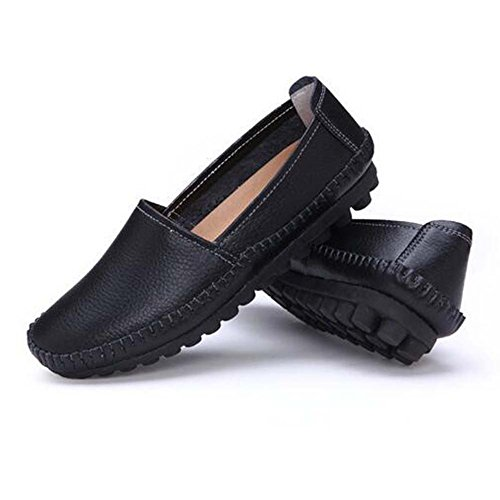 Flats Women Black Leather Shoes Moccasins Casual Loafers Boat Hattie pOndCFn