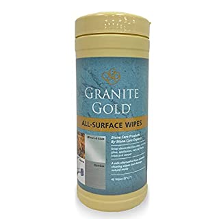 Granite Gold All-Surface Cleaner Wipes Household Streak-Free Cleaning for Stainless Steel, Glass, Granite, Quartz, Marble Countertops-Made in the USA, 40 ct, 40 Pack