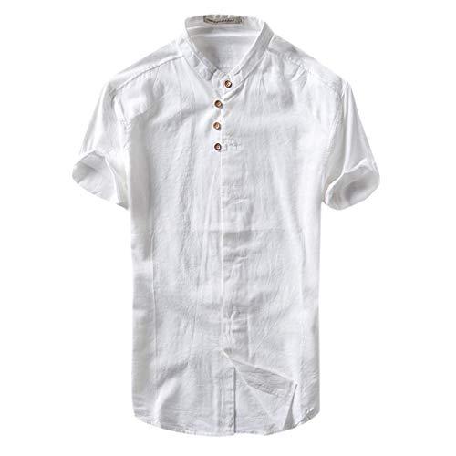 - kaifongfu Men Shirts, Hawaiian Casual Shirt Short Sleeve Top Button Linen Solid Color Loose Blouse(White,XL)