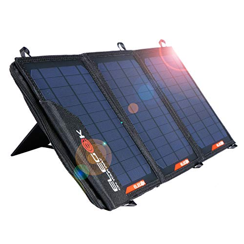 Foldable Solar Panel Charger 21W Folding Solar Panel USB + DC Output ELEGEEK Solar Charger with Adjustable Stand and Zipper Storage Bag for Cellphone iPad Gopro Camera Car Battery Emergency by EleGeek