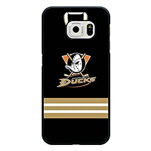 Samsung Galaxy S6 Edge Case Hybrid NHL Anaheim Ducks Hockey Team Logo Sports Design Hard Custom New Protective Rugged Protection Accessories Case Cover for Men