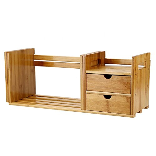 Zerone Bamboo Desktop Organizer, Extendable Tabletop Display Shelf Rack with 2 Drawer for Office and Home