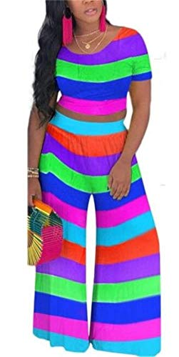 - Women Club Multicolor Stripe Patchwork 2 Piece Sportwear Round Neck Crop Shirt High Waist Wide Leg Long Pants Jumper