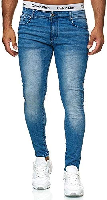 iProfash męskie spodnie jeansowe stretch spodnie dżinsy Slim Fit Super Skinny Jeans 8307: Odzież