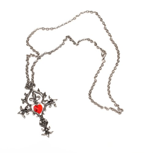 Gothic Red Heart Cross Link Chain Necklace Dark Jewelry Vampire Fashion Deathrock Elegant
