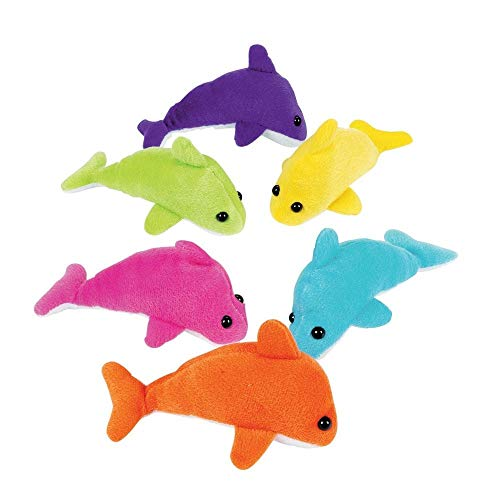 Fun Express Plush Assorted Mini Dolphins - 12 Pieces -