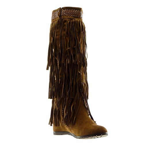 Cavalier Mode Fourrée Chaussure Cm Femme Camel Botte Diamant Bottes Intérieur 7 Tréssé Angkorly Indiennes Légèrement Frange Talon Compensé Strass Folk qgX5B