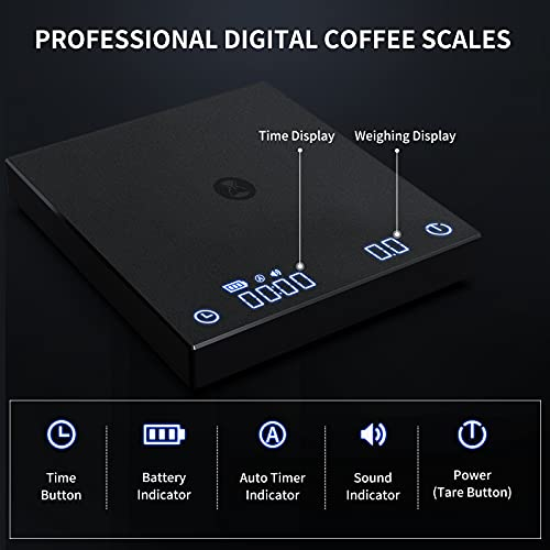TIMEMORE Coffee Scale, Multifunction Electronic Espresso Scale, Weigh Digital Drip Cone Scale with Timer, 1g Precise Graduation, 2000 Grams Mini Digital Food Kitchen Scale for Baking, Cooking(White)
