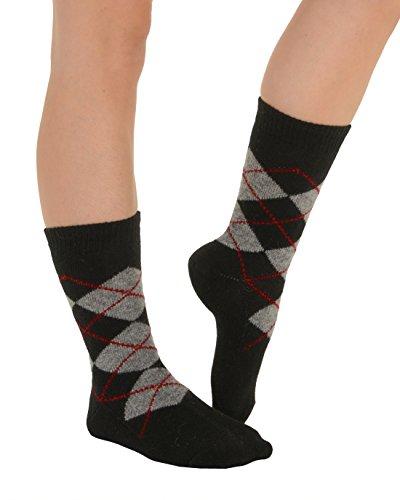 Cashmere Blend Crew Socks (Womens Cashmere Blend Crew Socks 8 Color Options Argyle Socks Made In USA Color:: Black / Grey)
