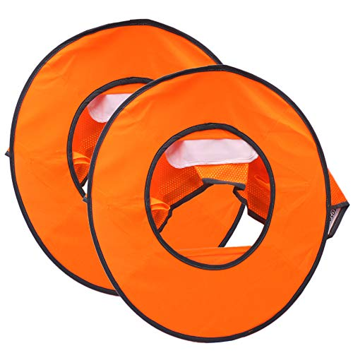 2 Pack Hard Hat Sun Neck Shield Full Brim Sunshade for Hard Hats- High Visibility, Reflective, Full Brim Mesh Sun Shade Protector (Hard Hat Not Included) (Orange) by Erlvery DaMain (Image #2)