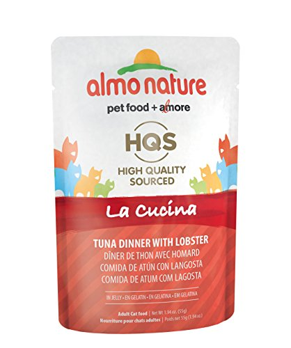 Almo Nature HQS La Cucina Tuna with Lobster In Jelly Grain Free Wet Cat Food Pouches (Pack of 24 pouches 1.94oz each )