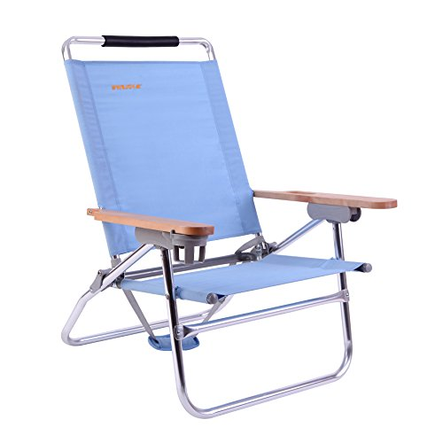 - #WEJOY 4-Position Beach Chair Folding Beach Lounge Cooler Chair Lay Flat Aluminum Frame Backpack Lightweight Portable Wooden Armrest Cup Holder, Supports 300lbs
