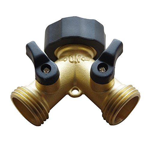 Freehawk® Hose Valve/ Hose Faucets/ Flexible Hose Connector/ Garden Hose Splitter, 2 Way Solid Brass Y Valve Garden Hose Connector with Comfort Grip (Flexible 1 1 2 Hose compare prices)