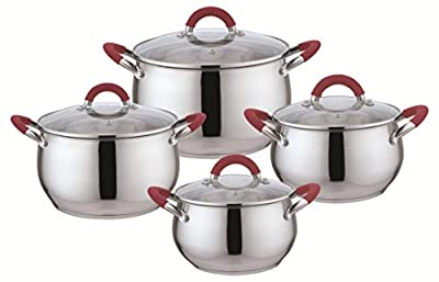 Kitchen Sense Set of 4 Stainless Steel Sauce Pans with Glass Lids (1.8Qt, 2.5Qt, 3.4Qt, 5.4Qt)