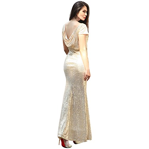 YiZYiF Women Backless Sequin Lace Wedding Long Bridesmaid Dress Evening Party Gown Gold XX-Large