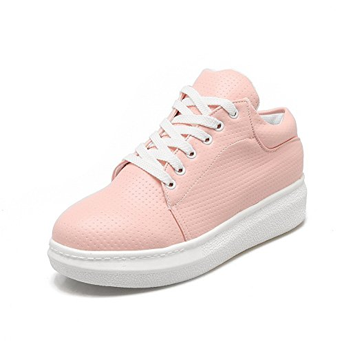 BalaMasa Womens Lace-Up Platform Round-Toe Urethane Flats Shoes Pink Sx5VtRx