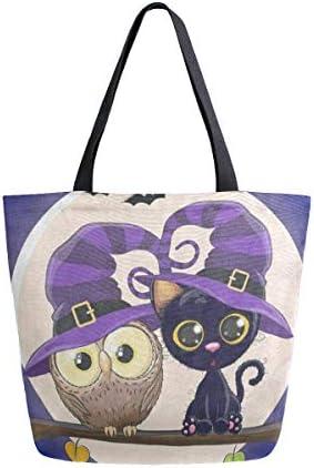 LzVong Halloween Cat Moon Canvas Shoulder Bag Handbags Tote Shopping Bag